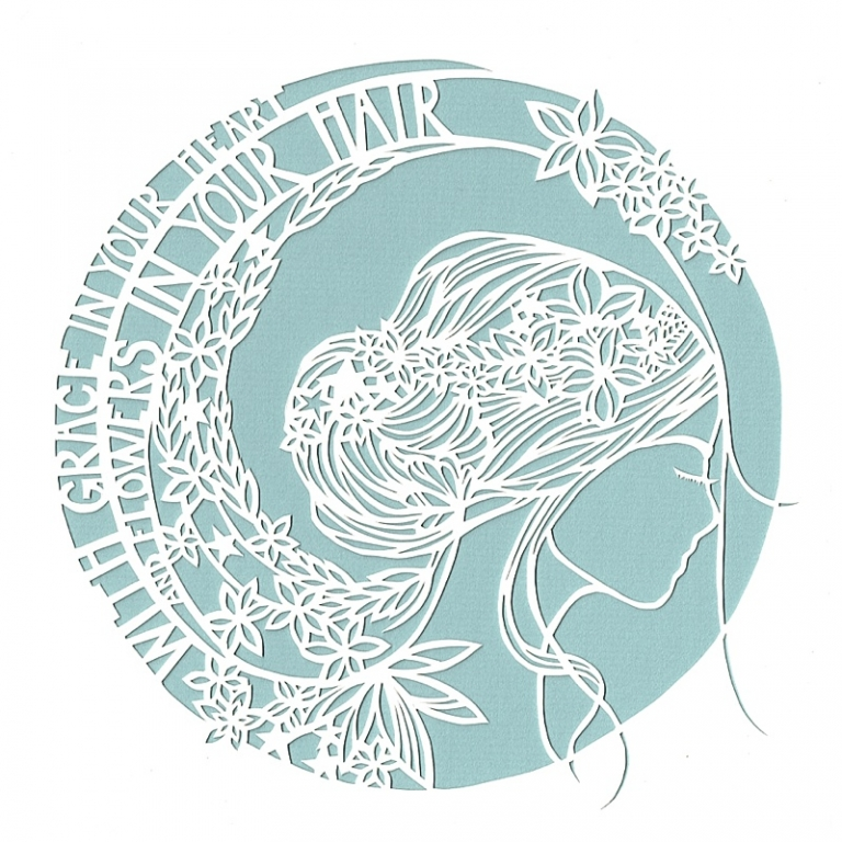 paper cut of a girls head with mumford and sons lyrics