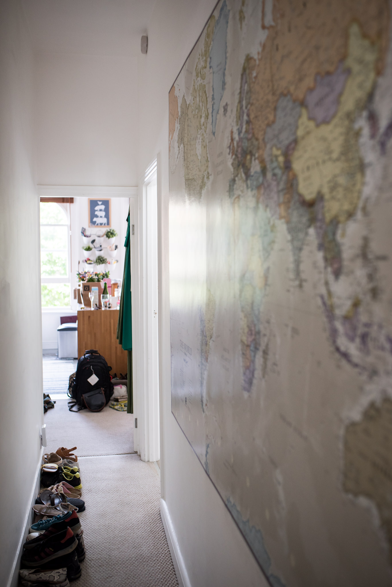 map on the wall of a london flat